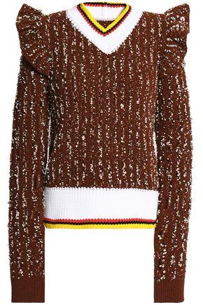 MARCO DE VINCENZO Ruffled bouclé sweater