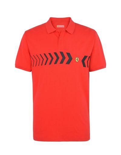 Scuderia Ferrari Online Store - Men's polo shirt in cotton pique - Short Sleeve Polos