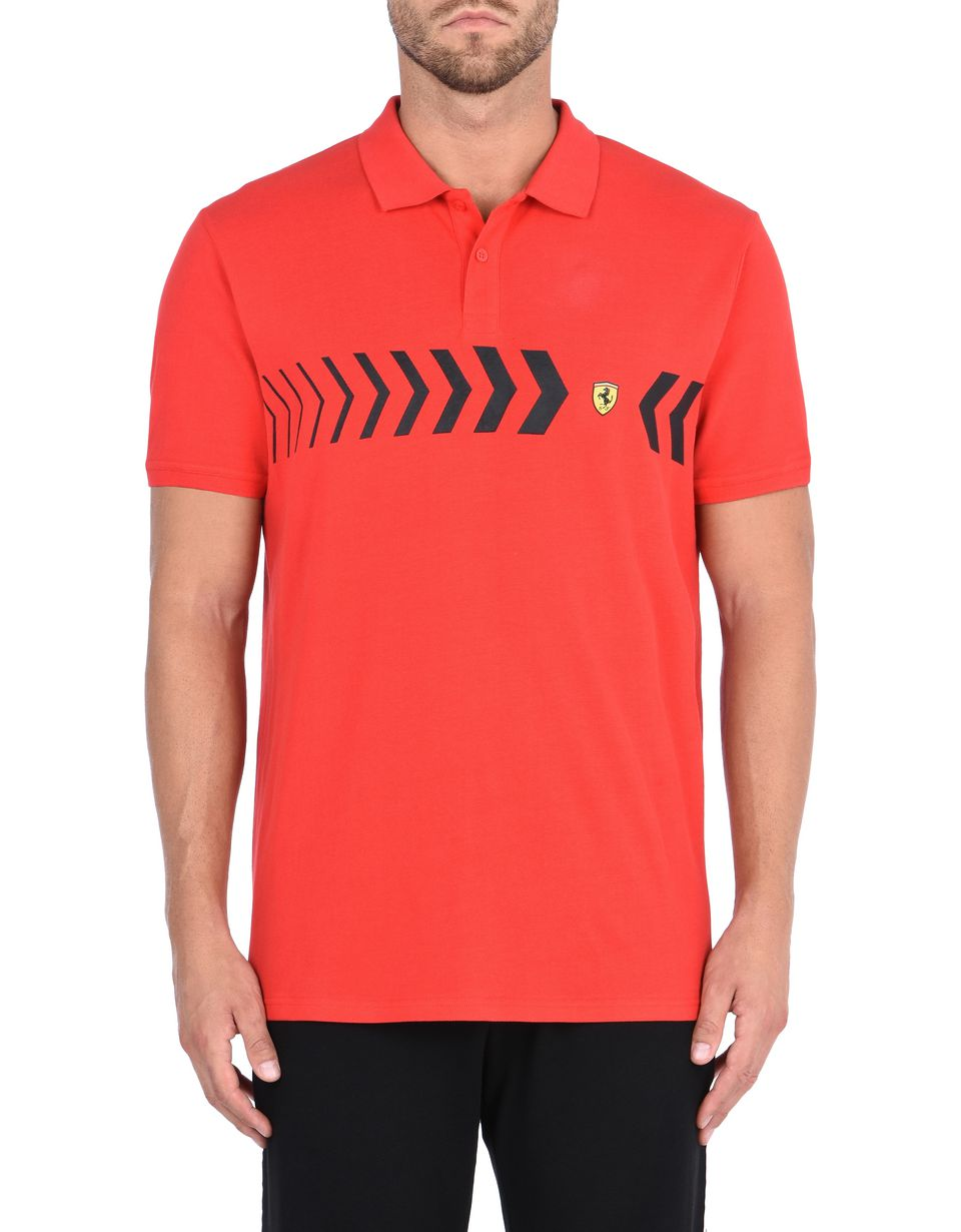 Scuderia Ferrari Online Store - Men's polo shirt in cotton pique - Short Sleeve Polos