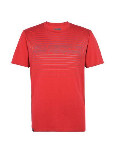 Scuderia Ferrari Online Store - Men's jersey T-shirt with rubberized print - Short Sleeve T-Shirts