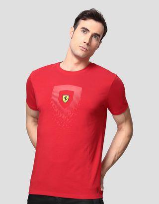 Scuderia Ferrari Online Store - Men's cotton T-shirt with Shield print - Short Sleeve T-Shirts