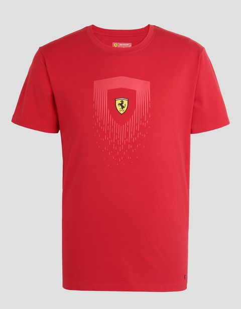Scuderia Ferrari Online Store - Men's cotton T-shirt with Shield print - Short Sleeve T-Shirts