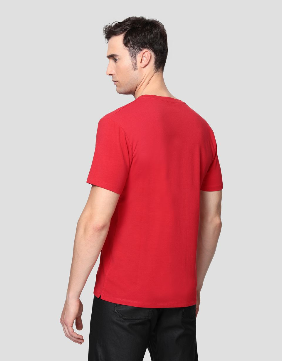 Scuderia Ferrari Online Store - Men's cotton T-shirt with printed Shield - Short Sleeve T-Shirts