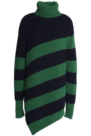 MARCO DE VINCENZO Striped ribbed wool turtleneck sweater