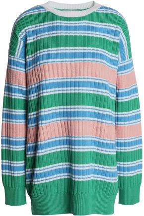 MARCO DE VINCENZO Shell-trimmed striped wool sweater