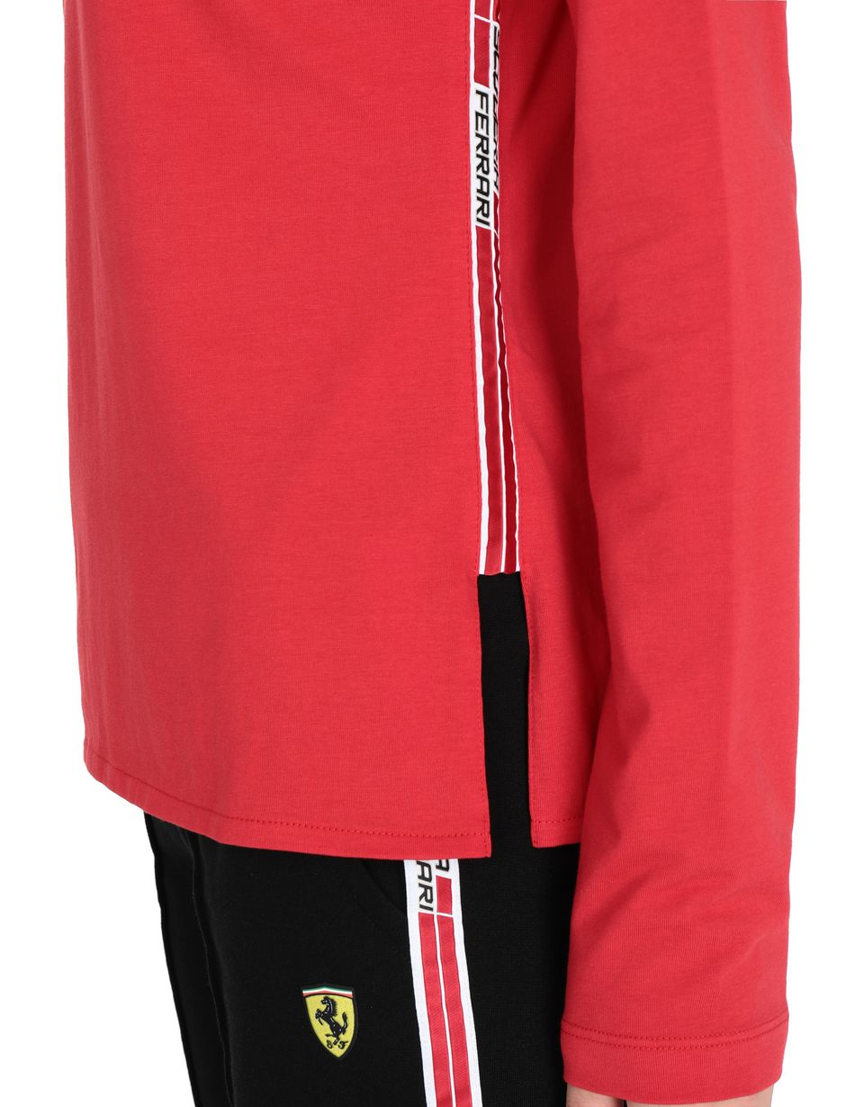 Scuderia Ferrari Online Store - Women's long-sleeved T-shirt with <i>Icon Tape</i> on the sides - Long Sleeve T-Shirts