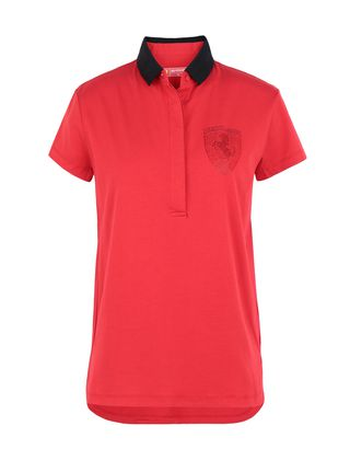 Scuderia Ferrari Online Store - Women's polo shirt in stretch jersey with gems - Short Sleeve Polos