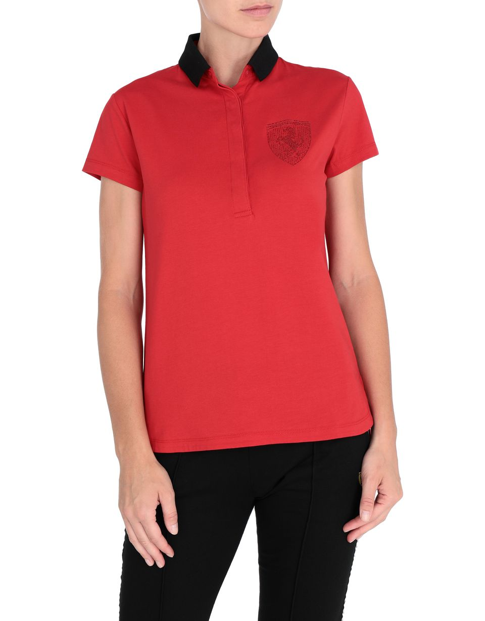 Scuderia Ferrari Online Store - Women's stretch jersey polo shirt with rhinestones - Short Sleeve Polos