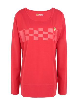 Scuderia Ferrari Online Store - T-shirt pour femme à manches longues et à imprimé damier - T-shirts à manches longues