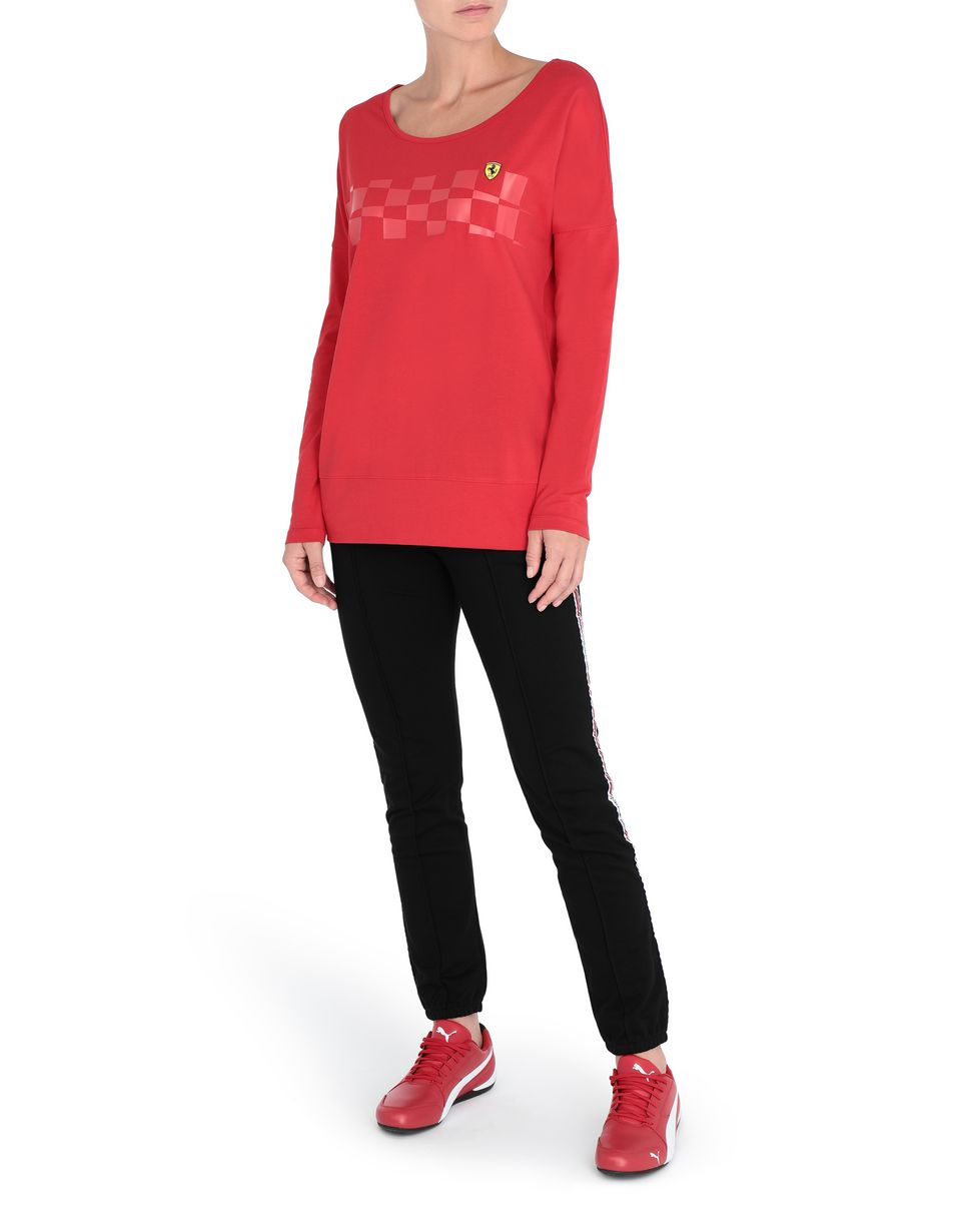 Scuderia Ferrari Online Store - Women's long-sleeved T-shirt with checkered pattern - Long Sleeve T-Shirts
