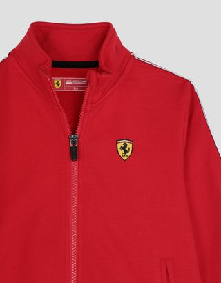 Scuderia Ferrari Online Store - Children's cotton sweatshirt with <i>Icon Tape</i> - Zip Sweaters