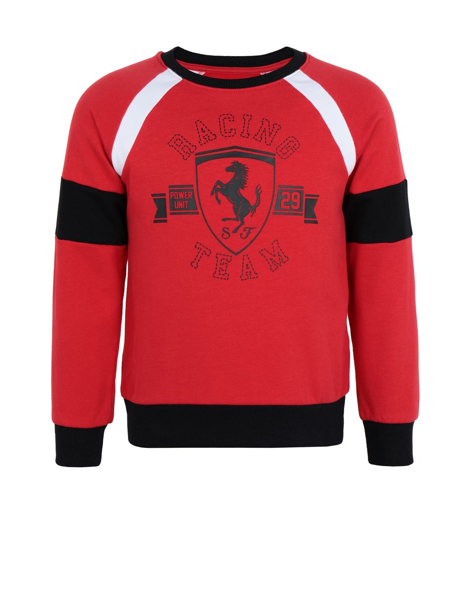 Scuderia Ferrari Online Store - Children's sweatshirt with knit inserts - Crew Neck Jumpers