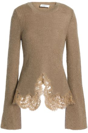 GIVENCHY Lace-trimmed ribbed mohair-blend sweater