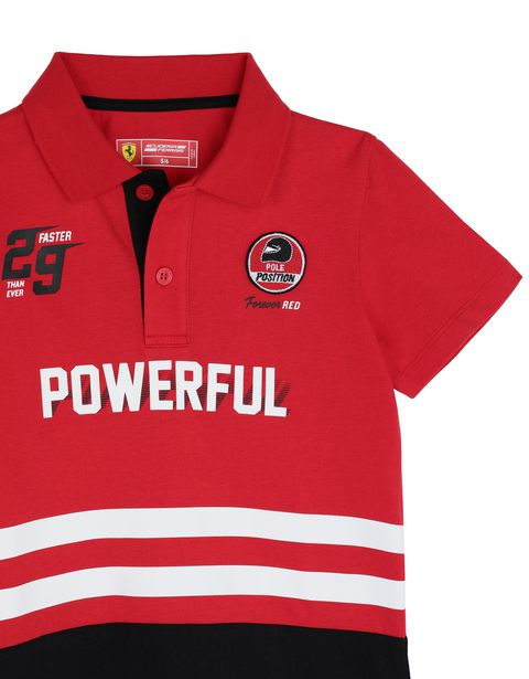 Scuderia Ferrari Online Store - Children's jersey polo shirt with prints and patches - Short Sleeve Polos