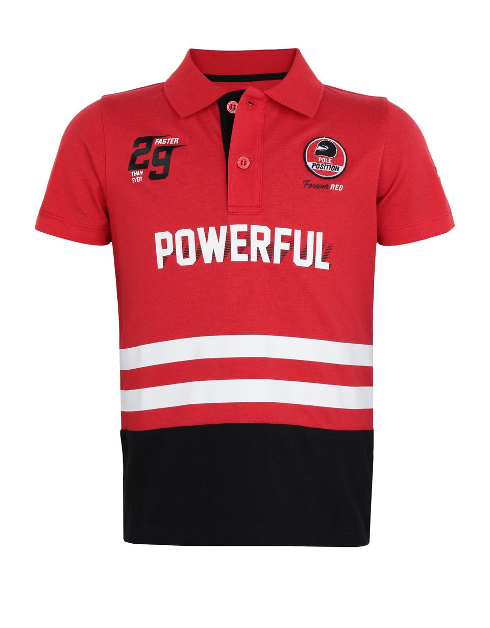 Scuderia Ferrari Online Store - Children's jersey polo shirt with prints and patches -