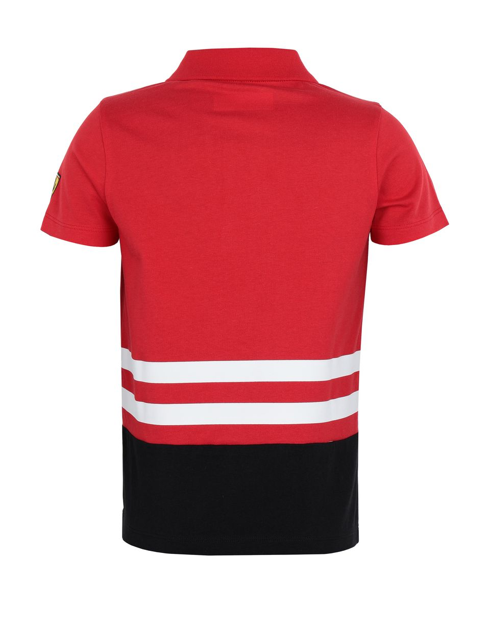 Scuderia Ferrari Online Store - Children's jersey polo shirt with prints and patch - Short Sleeve Polos