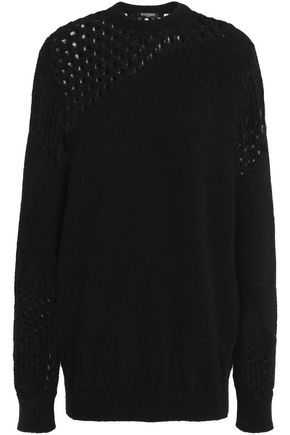 BALMAIN Open knit-paneled mohair-blend sweater