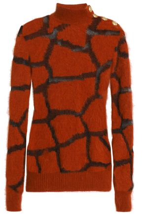 BALMAIN Intarsia-knit angora-blend sweater