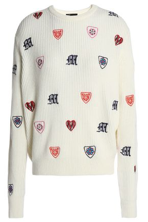 MAJE Embroidered ribbed-knit sweater