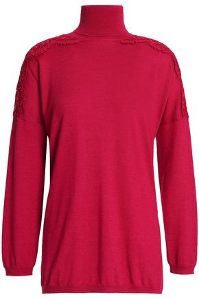 VALENTINO Lace-trimmed wool, silk and cashmere-blend turtleneck sweater