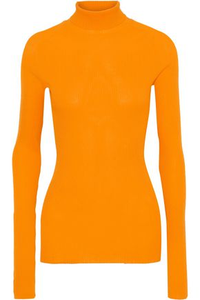 VICTORIA BECKHAM Ribbed silk and cotton-blend turtleneck top