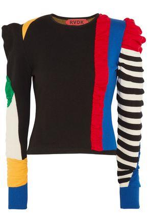 RONALD VAN DER KEMP Paneled color-block merino wool sweater