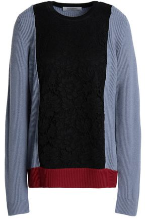VALENTINO Corded lace-paneled ribbed wool sweater