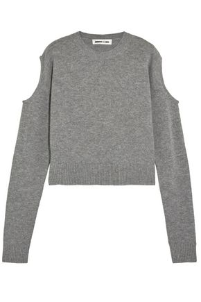 McQ Alexander McQueen Cold-shoulder mélange wool and cashmere-blend sweater