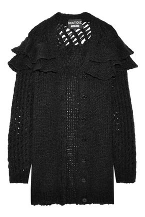 BOUTIQUE MOSCHINO Ruffle-trimmed open-knit cardigan