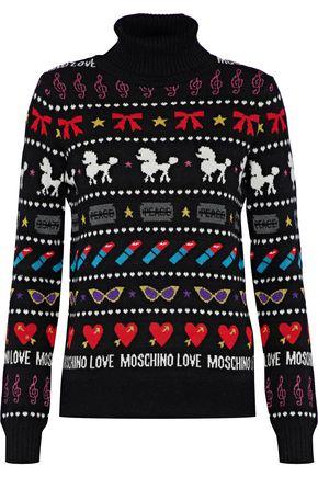 LOVE MOSCHINO Metallic jacquard-knit turtleneck sweater