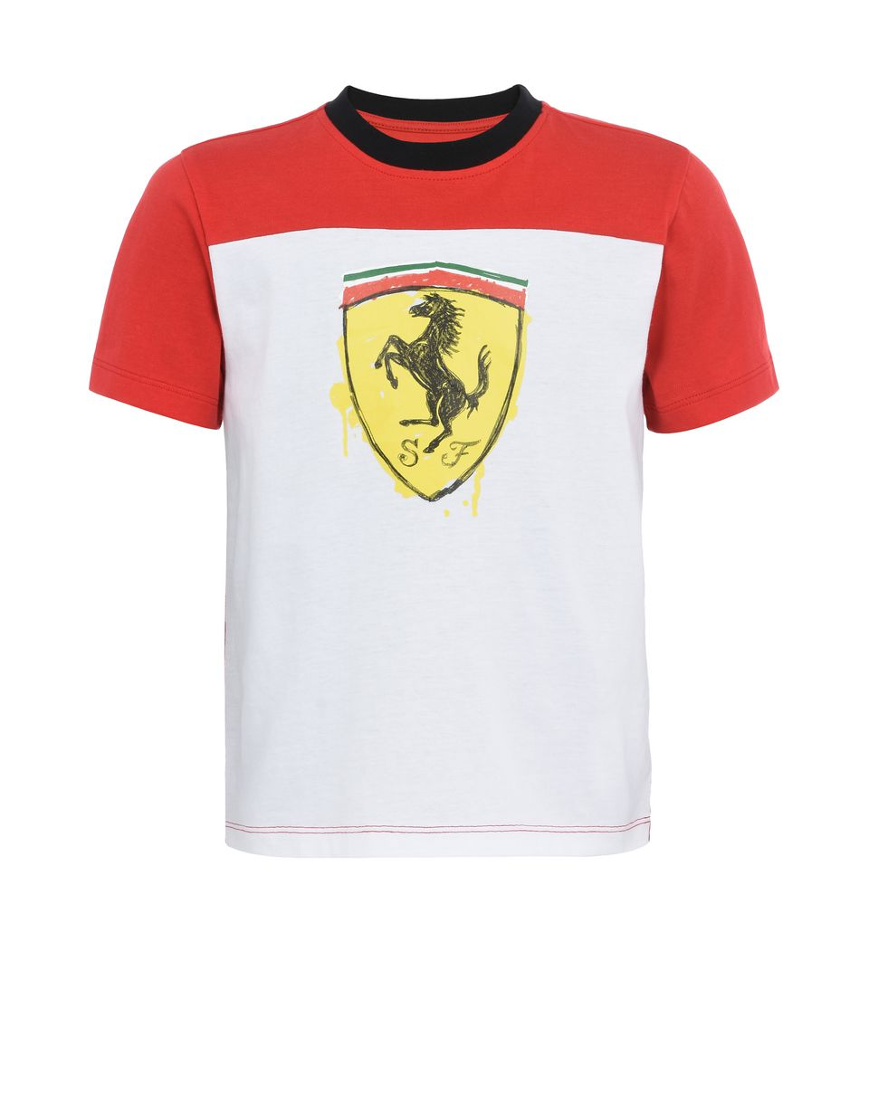 Scuderia Ferrari Online Store - Children's cotton T-shirt with Shield - Short Sleeve T-Shirts
