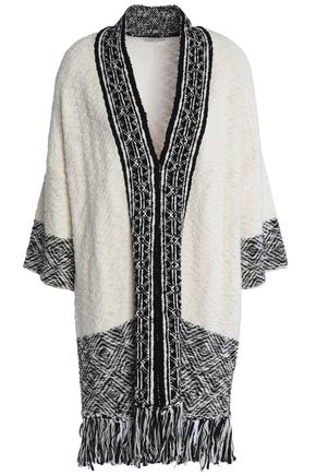JOIE Jacquard knit-trimmed fringed cotton cardigan
