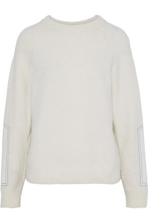 BELSTAFF Shelby leather-paneled wool-blend sweater