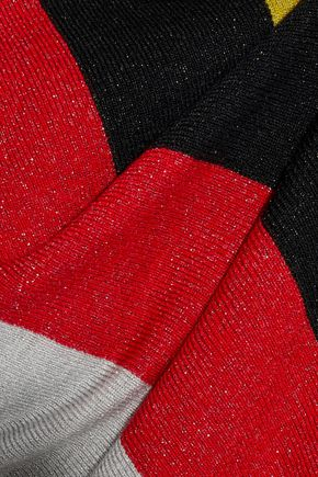 DIANE VON FURSTENBERG Metallic striped wool-blend top