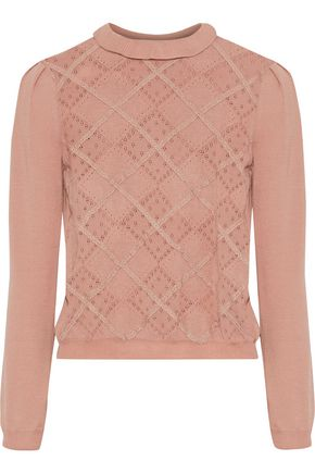 REDValentino Lace-trimmed pointelle-knit wool sweater