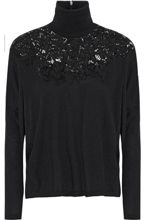 VALENTINO Lace-paneled wool, silk and cashmere-blend turtleneck sweater