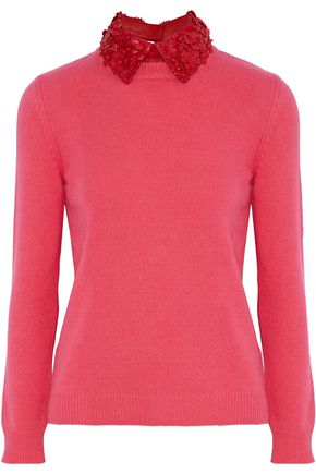 VALENTINO Leather-trimmed wool and cashmere-blend sweater