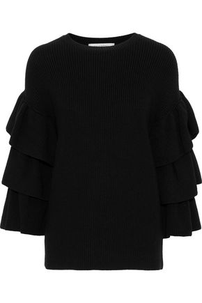 VALENTINO Ruffle-trimmed wool sweater