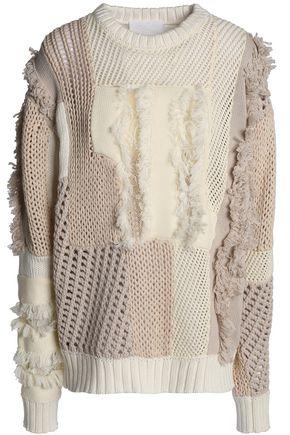 KOCHÉ Frayed paneled cotton sweater