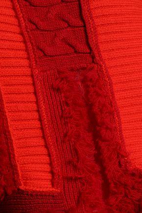KOCHÉ Frayed paneled wool turtleneck sweater