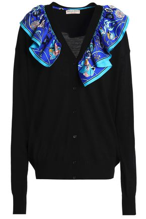 EMILIO PUCCI Ruffled printed silk-trimmed wool cardigan