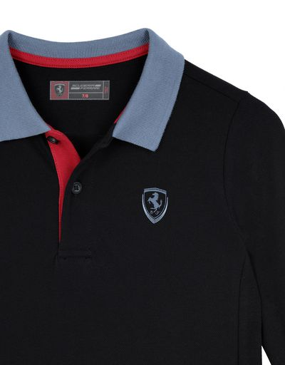 Scuderia Ferrari Online Store - Boy's cotton piquet polo shirt - Long Sleeve Polos