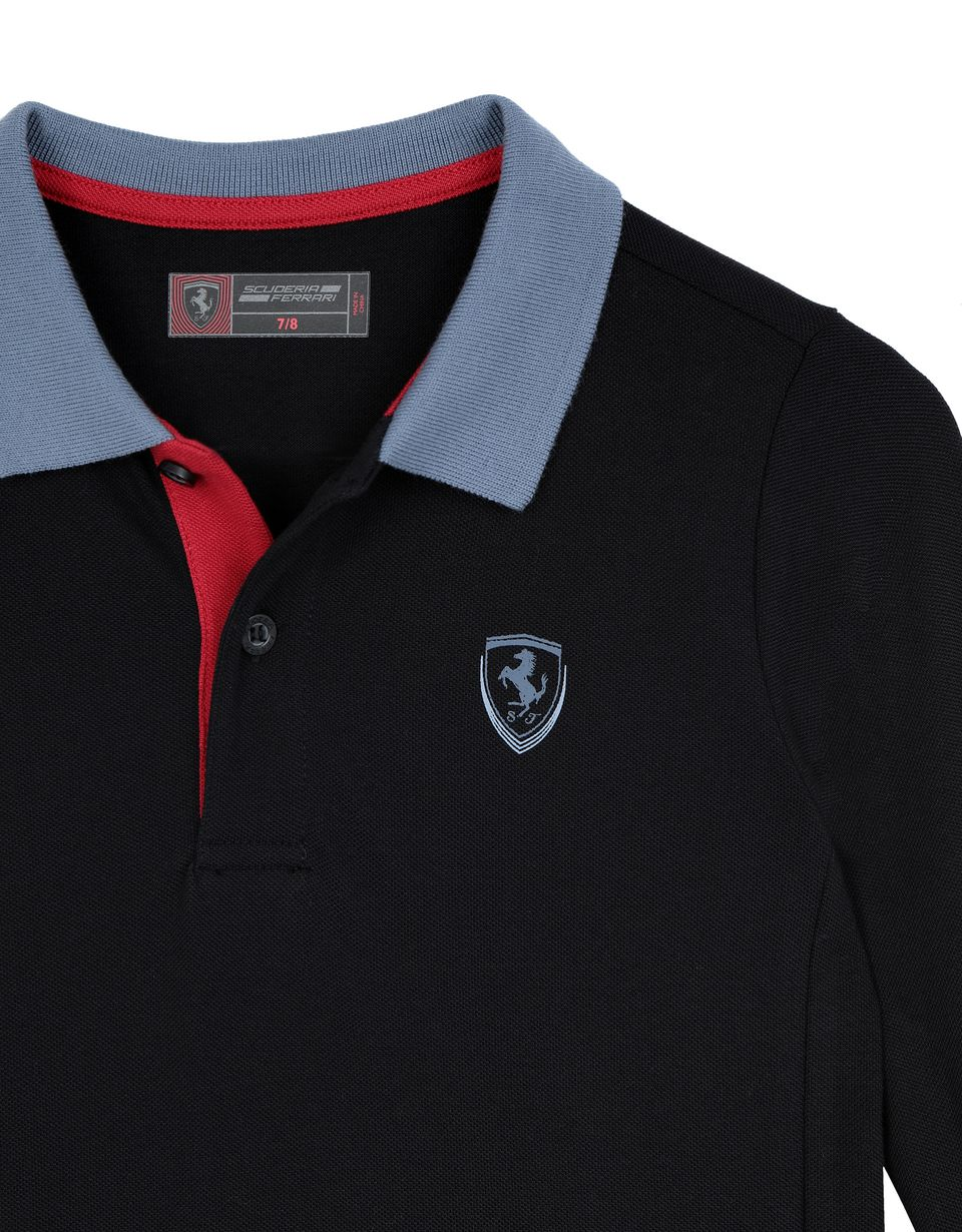 Scuderia Ferrari Online Store - Children's polo shirt in cotton pique - Long Sleeve Polos