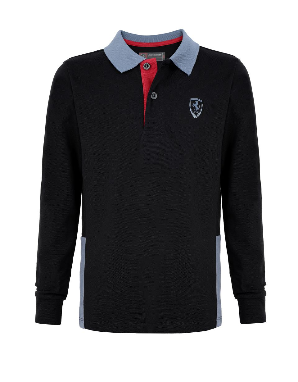 Scuderia Ferrari Online Store - Boys' polo shirt in cotton pique - Long Sleeve Polos