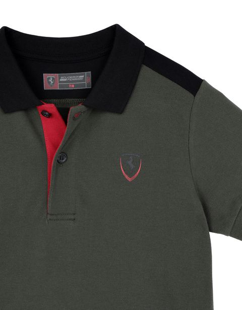 Scuderia Ferrari Online Store - Children's cotton polo shirt with print on the back - Short Sleeve Polos