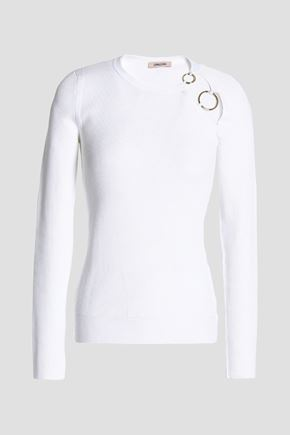 CUSHNIE ET OCHS Ring-embellished ribbed-knit top