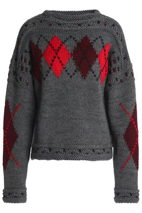 ISABEL MARANT Argyle wool and alpaca-blend sweater