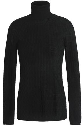 M MISSONI Crochet-knit wool-blend turtleneck sweater