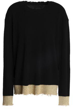 RTA Charlotte distressed two-tone cashmere sweater
