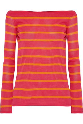GOEN.J Off-the-shoulder striped intarsia-knit top